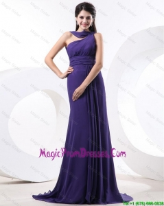 2016 Elegant Ruching Eggplant Purple Prom Dress with Brush Train