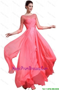 Beautiful Bateau Coral Red Prom Dresses with 3/4-length Sleeves