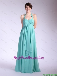 Beautiful Brush Train Turquoise Prom Dresses with Halter Top