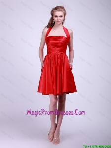 Inexpensive Short Ruched Red Prom Dresses with Halter Top