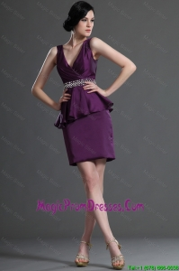 Most Popular V Neck Short Eggplant Purple Prom Dresses with Beading