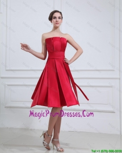New Style Strapless Short Prom Gowns with Knee Length