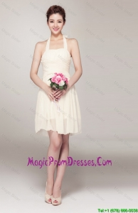 Beautiful Halter Top Short Prom Dresses in Champagne