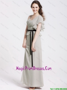 Latest Straps Sash and Ruchede Prom Gowns in Grey