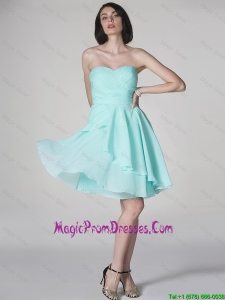 New Style Side Zipper Ruched Short Prom Dresses with Sweetheart