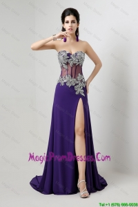 Popular Brush Train Prom Dresses with Beading and High Slit