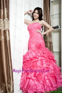 Affordable Beading and Ruffles Mermaid Prom Dresses in Coral Red