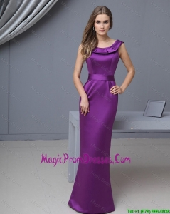 Beautiful Column Scoop Prom Gowns with Floor Length