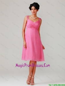 Brand New Straps Ruching Short Prom Dresses in Hot Pink