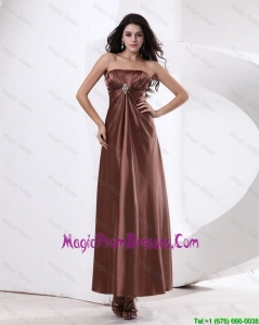 Fashionable Strapless Prom Dresses With Ankle Length