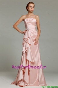 Hot Sale Strapless Beaded Prom Dresses with Brush Train