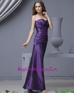 2016 Perfect Sweetheart Column Ruching Prom Dresses in Purple