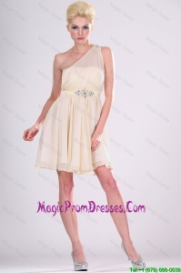 Beautiful One Shoulder Beaded Prom Dresses in Champagne