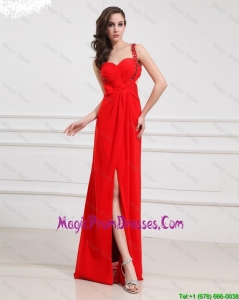 Empire One Shoulder Sequins Prom Dresses with Slit in Red