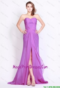 Perfect Sweetheart Lilac High Slit Prom Dresses with Brush Train