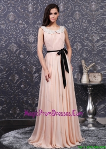 Brand New Appliques and Sashes Scoop Long Prom Dresses
