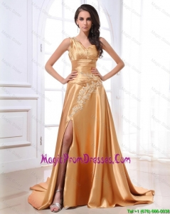 Gorgeous Ruching and Appliques Gold Prom Dresses with Brush Train