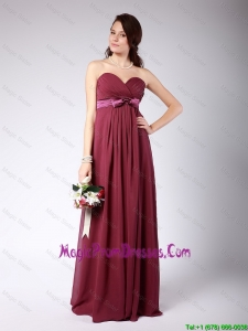 Gorgeous Sweetheart Burgundy Prom Dress with Belt and Bowknot