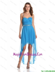 Hot Sale High Low Spaghetti Straps Prom Dresses with Beading