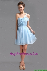 Perfect One Shoulder Ruching Short Prom Gowns for Holiday