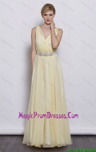 Classical V Neck Empire Prom Dresses with Sash