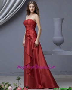 Modern Column Strapless Prom Dresses with Ruching and Hand Made Flowers