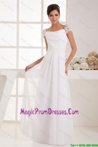 Most Popular Square Ruching Lace White Prom Dresses with Cap Sleeves