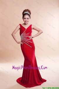 Most Popular V Neck Column Brush Train Red Prom Dresses
