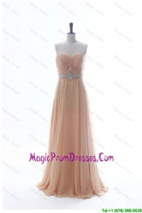 Most Popular Beading Long Prom Dresses in Peach for 2016 Summer