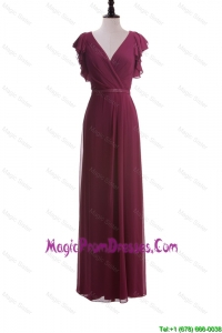 2016 Autumn Empire V Neck Prom Dresses with Belt in Burgundy