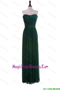 2016 Custom Made Empire Strapless Ruching Prom Dresses in Dark Green