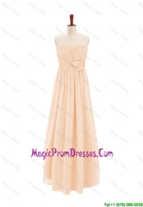 2016 Customize Sweetheart Bowknot Peach Prom Dress in Chiffon