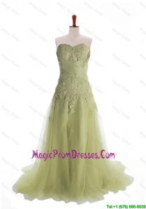 2016 Luxurious Appliques Brush Train Long Prom Dresses in Olive Green