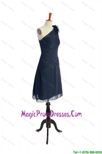 Brand New One Shoulder Hand Made Flowers Short Navy Blue Classic Prom Dresses