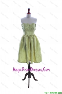 Classic Yellow Green Short Prom Dress with Ruching and Belt