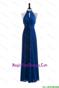 2016 Empire Halter Top Classic Prom Dresses with Belt in Blue