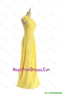 Classical One Shoulder Long Yellow Classic Prom Dresses with Bowknot