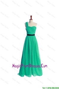 Discount Ruching and Belt One Shoulder Green Long Classic Prom Dress