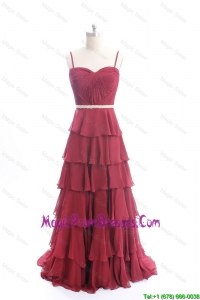 Exclusive Brush Train Belt and Ruffled Layers Classic Prom Dresses in Wine Red