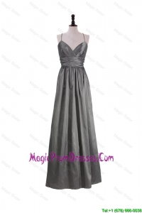 Gorgeous A Line Spaghetti Straps Prom Dresses with Belt in Grey