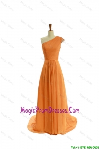 Gorgeous Ruching One Shoulder Orange Prom Dresses with Brush Train