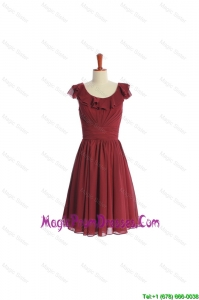 Inexpensive Wine Red Short Classic Prom Dress with Ruffled Layers and Belt