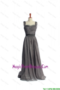 New Style Belt and Lace Grey Long Classic Prom Dresses in Organza