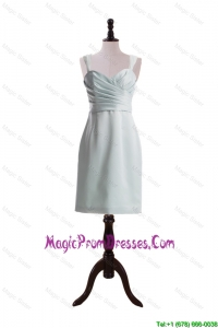 Custom Made Column Straps Short Prom Dresses with Ruching