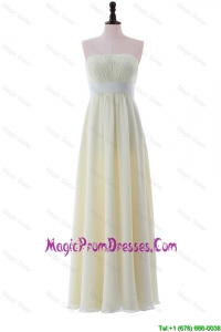 Empire Strapless Belt Cheap Prom Dresses with Ruching