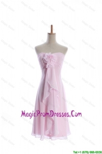 Romantic Empire Strapless Prom Dresses with Hand Made Flowers