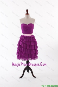 Discount Short Prom Dresses with Bowknot and Ruffled Layers