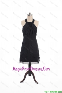 Fashionable Beading and Ruffles Short Prom Dress in Black