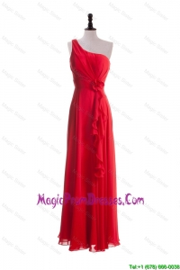 2016 Discount Hand Made Flowers and Ruffles Red Prom Dresses