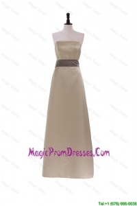 2016 Discount Style Column Strapless Brown Long Prom Dresses